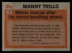 1983 Topps #5   -  Manny Trillo Record Breaker Back Thumbnail