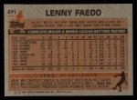 1983 Topps #671  Lenny Faedo  Back Thumbnail