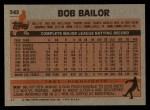 1983 Topps #343  Bob Bailor  Back Thumbnail