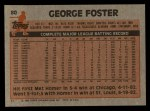 1983 Topps #80  George Foster  Back Thumbnail