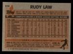 1983 Topps #514  Rudy Law  Back Thumbnail