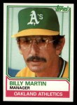1983 Topps #156  Billy Martin  Front Thumbnail