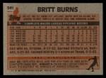 1983 Topps #541  Britt Burns  Back Thumbnail