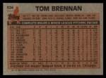 1983 Topps #524  Tom Brennan  Back Thumbnail