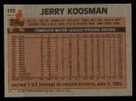 1983 Topps #153  Jerry Koosman  Back Thumbnail