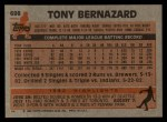 1983 Topps #698  Tony Bernazard  Back Thumbnail