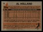 1983 Topps #58  Al Holland  Back Thumbnail
