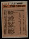 1983 Topps #441   -  Ray Knight / Joe Niekro Astros Leaders Back Thumbnail