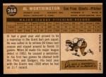 1960 Topps #268  Al Worthington  Back Thumbnail