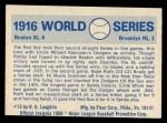 1970 Fleer World Series #13   -  Babe Ruth 1916 Red Sox vs. Dodgers   Back Thumbnail