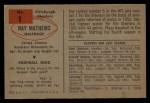 1954 Bowman #1  Ray Mathews  Back Thumbnail