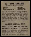 1948 Leaf #72  Hank Edwards  Back Thumbnail