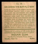 1933 Goudey Indian Gum #98   Graining the Buffalo Skin  Back Thumbnail