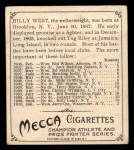 1910 T218 Champions #152  Billy West  Back Thumbnail