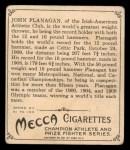 1910 T218 Champions #14 UPR John Flanagan  Back Thumbnail