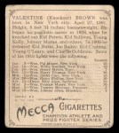 1910 T218 Champions #95  Knock-Out Brown  Back Thumbnail