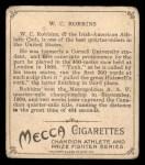 1910 T218 Champions #47  W.C. Robbins  Back Thumbnail