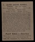 1939 Play Ball #1  Jake Powell  Back Thumbnail