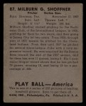 1939 Play Ball #87  Milt Shoffner  Back Thumbnail