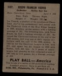 1939 Play Ball #107  Joe Vosmik  Back Thumbnail