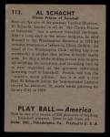 1939 Play Ball #113  Al Schacht  Back Thumbnail