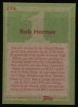 1985 Topps #276  Bob Horner  Back Thumbnail