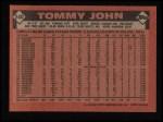 1986 Topps #240  Tommy John  Back Thumbnail