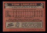 1986 Topps #228  Tom Lawless  Back Thumbnail