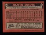 1986 Topps #440  Alvin Davis  Back Thumbnail