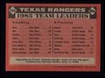 1986 Topps #666   Rangers Leaders Back Thumbnail