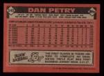 1986 Topps #540  Dan Petry  Back Thumbnail