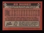 1986 Topps #511  Ed Nunez  Back Thumbnail