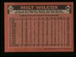 1986 Topps #192  Milt Wilcox  Back Thumbnail
