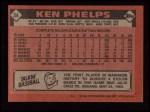 1986 Topps #34  Ken Phelps  Back Thumbnail