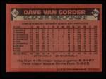 1986 Topps #143  Dave Van Gorder  Back Thumbnail