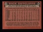 1986 Topps #330  Rick Sutcliffe  Back Thumbnail