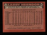 1986 Topps #688  Larry Herndon  Back Thumbnail