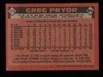 1986 Topps #773  Greg Pryor  Back Thumbnail