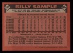 1986 Topps #533  Billy Sample  Back Thumbnail