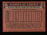 1986 Topps #367  Aurelio Lopez  Back Thumbnail