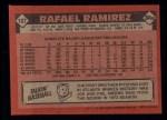 1986 Topps #107  Rafael Ramirez  Back Thumbnail