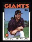1986 Topps #310  Greg Minton  Front Thumbnail
