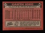 1986 Topps #694  Garth Iorg  Back Thumbnail