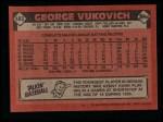 1986 Topps #483  George Vukovich  Back Thumbnail
