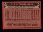 1986 Topps #130  Alan Trammell  Back Thumbnail