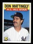 1986 Topps #712   -  Don Mattingly All-Star Front Thumbnail