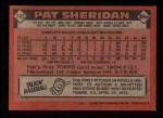 1986 Topps #743  Pat Sheridan  Back Thumbnail