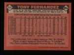 1986 Topps #241  Tony Fernandez  Back Thumbnail