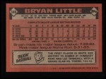 1986 Topps #346  Bryan Little  Back Thumbnail