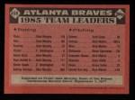1986 Topps #456   Braves Leaders Back Thumbnail